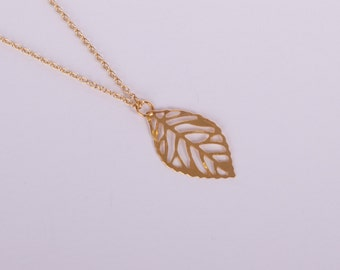 Gold Plated Necklace Leaf Golden Leaves Filigree Fine Golden Leaves