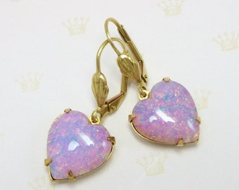 Pink Heart Earrings Pink Fire Opal Earrings Vintage Glass Jewels Ear Dangles Victorian Shabby Chic