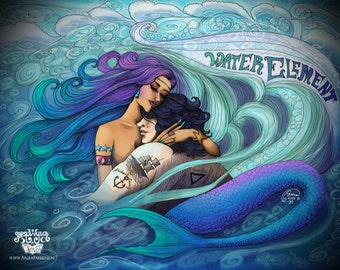 Water Element Mermaid Sailor Love Nautical Sea Fantasy Psychedelic Illustration Art Print Whimsical Pisces Postcard