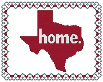 Home is Where the Heart Is - Texas Cross Stitch Pattern