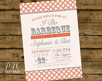 Printable I Do Barbeque Invitation - BBQ Engagement Party Invitation, Couples Shower, Wedding Shower, BBQ Party Invitation, Barbeque Party