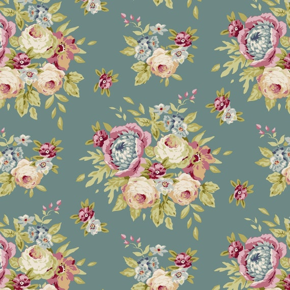 Spring diaries garden flowers ocean fabric tilda fabric for Au maison fabric