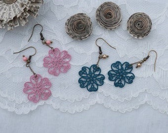 Tatted Lace Earrings - Chic Vintage Jewelry -  Bridal Accessory