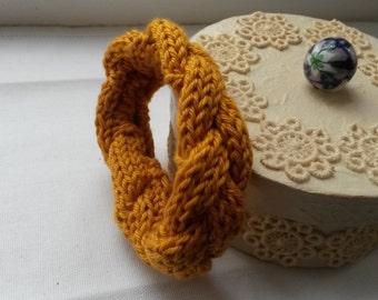 Ocher knitted bracelet soft bracelet warm bracelet