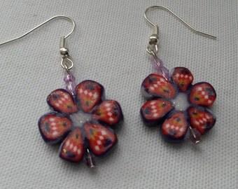 Flower earrings with a fimo clay flower, flower earrings, purple and red earrings