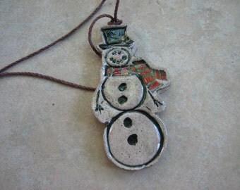 Snowman EO Diffuser Ornament, Christmas Tree Ornament, Primitive Snowman Ornament, Aromatherapy Ornament, Snowman Decoration