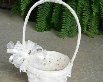 Flower girl Basket Lace and Pearls