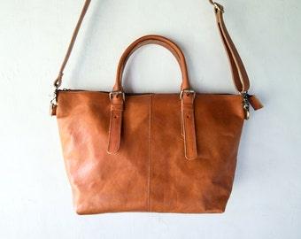 Leather shoulder Bag with should should strap, CarryAll, Laptop, MacBook, Shopping Bag - Handmade Vegetable Light Tanned Cow Leather