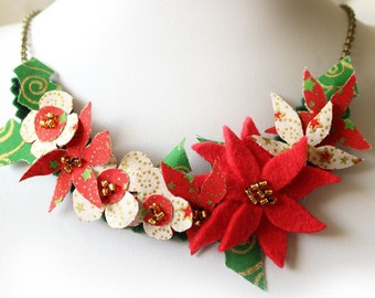 Christmas Necklace, Red Poinsettia Fabric Flowers Necklace, Red Gold and Green Seasonal Delights Holiday Jewelry