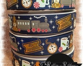 All Aboard Train 7/8 on Grosgrain Ribbon With Holographic Gold Foil