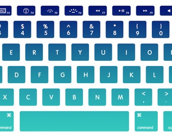 Blue-Teal Ombre Macbook Keyboard Decal Stickers