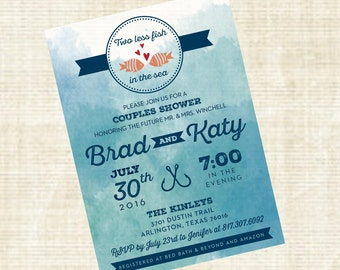 Fishing Themed Couples Shower Invitation