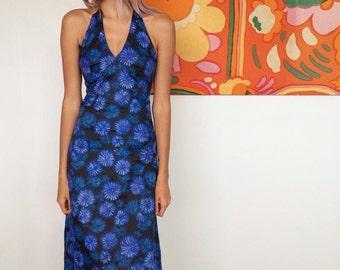 1970's Floral Halter Neck Dress