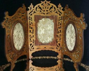 Victorian Folk Art Frame Portrait Frame Triptych Antique Lace Art Nouveau Vanity Mirror Tramp Art