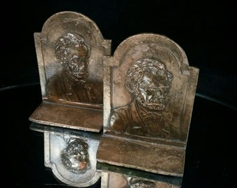 Mini Abraham Lincoln Bookends Lincoln Bookends Sculpture Statue Book End Set Plaster Bookends