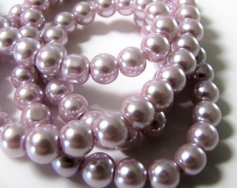 8 mm Lilac Pearls,  Celestial Pearls, Pearl Beads,  Faux Pearls, 16 inch strand Item #616