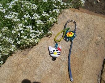 Handmade glass lampwork bead book marker, kitty and flower