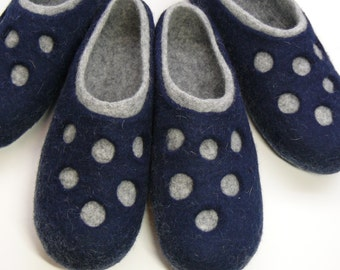 Handmade felted slippers  His and Her. Perfect gift for women and men. (two pairs)