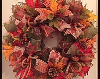 Fall Deco Mesh Wreath/Fall Wreath/Pinecone Wreath/Acorn Wreath/Fall Pinecone Wreath/Autumn Wreath/Autumn Pinecone Wreath
