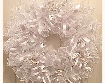 All White Celebration Deco Mesh Wreath/Wedding Wreath/Communion Wreath/Celebration Wreath/Blessing Wreath/White Spring Wreath