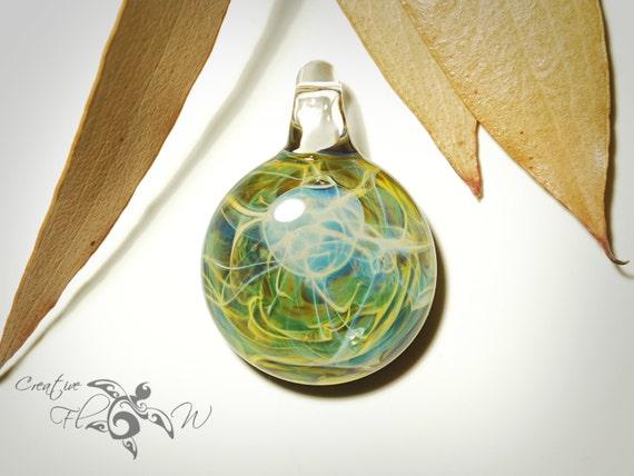 Wild Fern Pendant - Glass Art - Hand Blown Glass Jewelry - Original Design - Universe Filament -  Pure Fine Silver