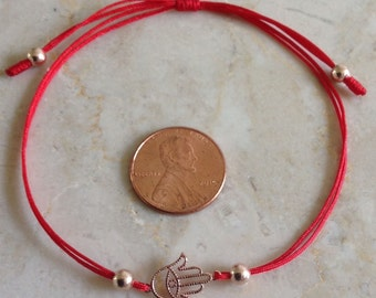 Sterling Silver Hamsa Hand Evil Eye Red Cord Bracelet