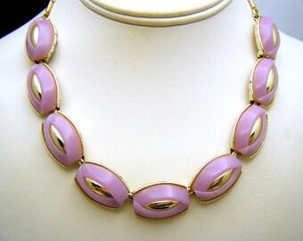Vintage Coro Thermoset Plastic Necklace Lavender Pale Gold Tone