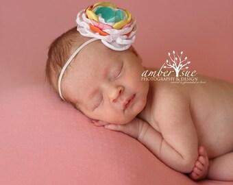 Aqua Orange Yellow Pink and White Headband, Handmade Flower Headband, Matilda Jane Headband