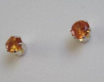 Orange Lab Sapphire Earrings 4mm orange stud earrings Lab Padparadscha Sapphire studs Small orange gemstone earrings, 925 Sterling Silver