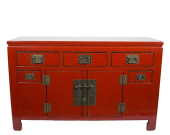 Antique Chinese Storage Credenza or Buffet in Lacquered Red (Los Angeles)