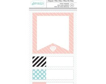 Designer Desktop Essentials Sticky Note Pads 4/Pkg