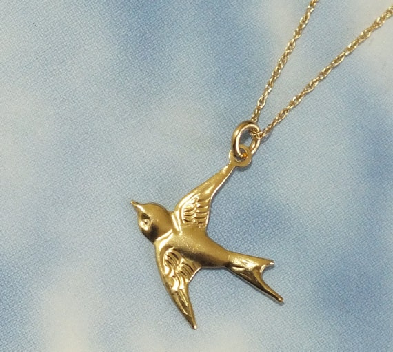 Solid gold bird necklace 14k gold sparrow necklace delicate like this item mozeypictures Gallery