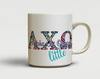 alpha chi omega mug sorority gift aztec letters in turquoise pink yellow axo little sister gift bulk order available 1261
