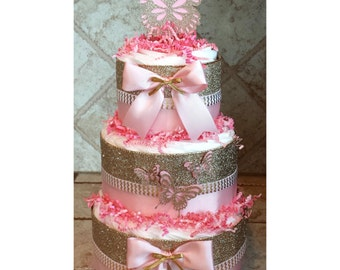Glitter Gold & Pink Butterfly Diaper Cake for Baby Shower Centerpiece or Gift for Baby Girl