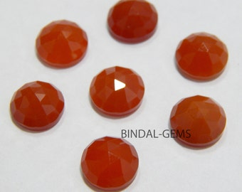 Wholesale Lot 10 Pcs Red Onyx Round Shape Rose Cut Gemstone For Jewelry