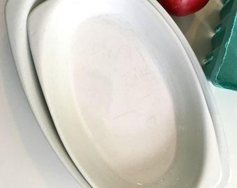 Vintage White Ceramic Pottery Au Gratin Casserole Servers Bowls by Pozzani Set of Two