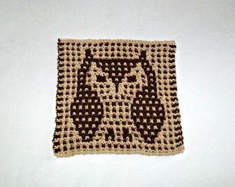 Fun Unique Owl Picture Handknitted Dishcloth