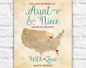 Aunt and Niece, Mothers Day Gift for Aunt, Auntie, Birthday Gift for Niece, Long Distance Family Map