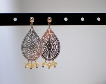 Drop earrings openwork and yellow Swarovski bicone beads - silver and crystal - earrings fancy