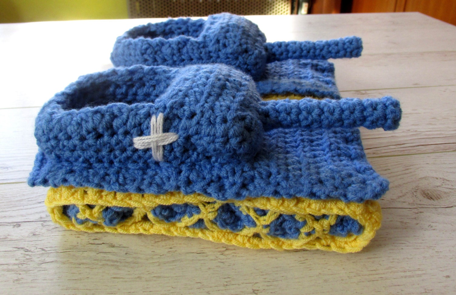 Crochet tank slippers panzer tank shoes tiger 1 by paintcrochet