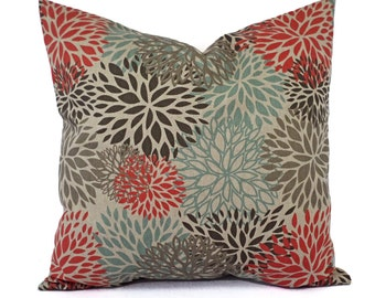 Two Orange Brown and Blue Decorative Pillow Covers - Two Floral Throw Pillow Covers - Orange Pillows - Blue Pillow - Brown Pillow Sham