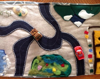Road to Tibet Placemat-needle felted & sewn fabric