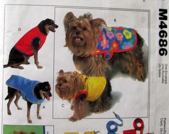 Dog Coats and Gifts Sewing Pattern, Dog Coats, dog mat,  dog leashes, for 11 to 16 Inch Dogs, McCalls 4686 , Patterns for Dogs