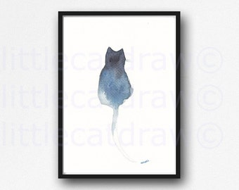 Cat Watercolor Print Ombre Cat Black Navy Blue and White Watercolor Painting Art Print Watercolour Cats Cat Watercolor