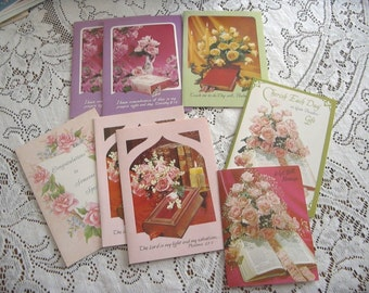 8 vintage greeting cards unused mixed lot of religious cards circa 1960's