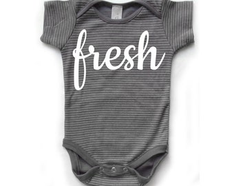 Baby Boy Romper - Baby Romper, Baby Boy Clothes - Baby Clothes, Organic Baby Clothes, Newborn Clothes - Gray Striped with sunglasses print