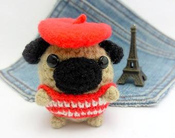 Amigurumi Pug Dog, French style crochet Pug. Dog crochet plushie. Pug toy. Pug amigurumi. Pug doll.