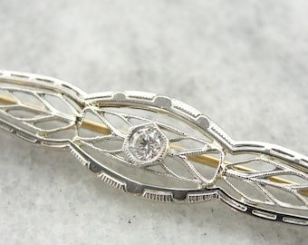 Edwardian Dream, Antique Diamond Brooch, Early 1900's Filigree Brooch with Diamond Accent  4RQ17K-D