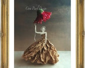 Fairytale Paper Doll Flower Umbrella  Paper Dress Fine Art Photograph -  10x8''  Digital Photograph - Bedroom Art - Childrens Bedroom  Decor