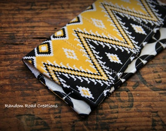 Fabric Checkbook Cover; Yellow, Black, White; Coupon Holder